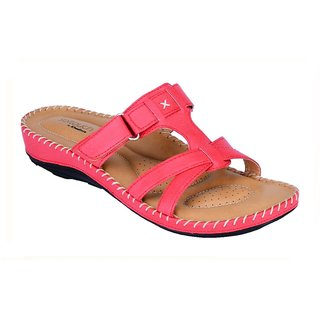 Khadims Softouch Coral Pink Flat Womens Sandal