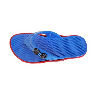 Super Divine Collections - Soft  Comfortable Acupressure Butterfly Ladies Flip Flop - Blue Red