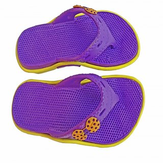 Super Divine Collections - Soft  Comfortable Acupressure Butterfly Ladies Flip Flop - Purple Yellow