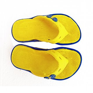 Super Divine Collections - Soft  Comfortable Acupressure Butterfly Ladies Flip Flop - Yellow Blue
