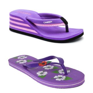 Cammy Womens Purple  Pink Casual Flip Flop Combo