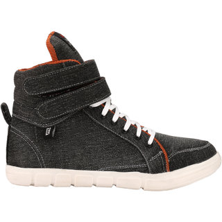 Eego Italy MenS Black Lace-Up Sneakers Shoes (THAKUR-1-BLACK)