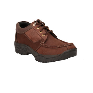 Pureits Leathers MenS Brown Lace-Up Casuals Shoes (PUREITS-A-8802-BROWN)