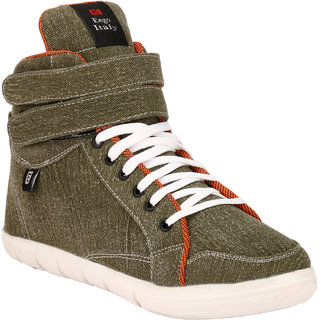 Eego Italy MenS Green Lace-Up Sneakers Shoes (THAKUR-1-GREEN)