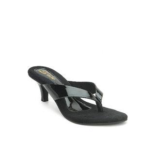 La Mere WomenS Black Casual Slip On Heel Sandals (LA-391)