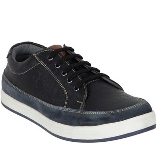 Numero Uno MenS Black Sneakers Lace-Up Shoes (NUSM-497-BLACK)