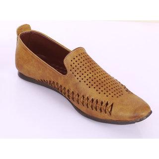 John Hupper Ethnic Faux Leather Shoe Tan Colour