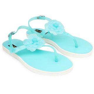 Do Bhai WomenS Blue Slippers (Flower-Sandal-Sea Blue)