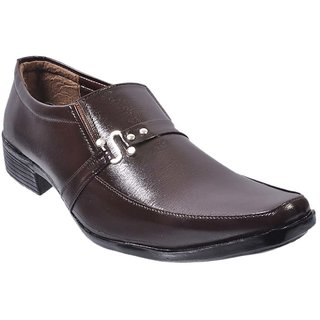 Nonch Le Brown Leather Slip On Formal Shoes Men(NCL0137MS)