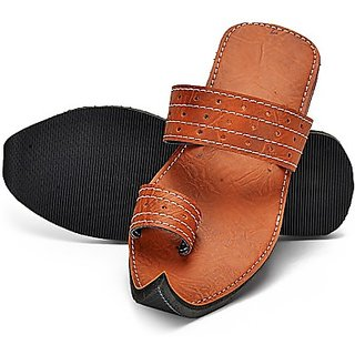 Ethnic Brown Leather Slipper For Men - 91924177