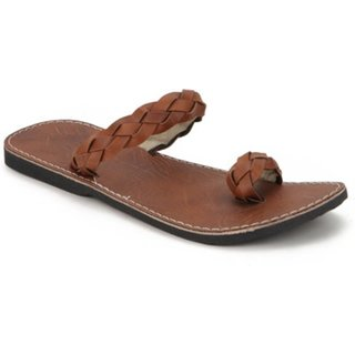 Ethnic Brown Casual Slipper For Men
