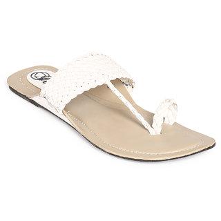 Jade WomenS White Casual Round Toe Slip On Sandals (JDB056-White)