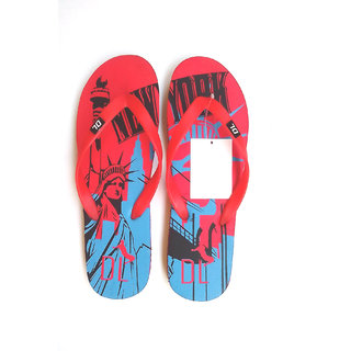 Indian Swan Statue Of Liberty Print Rubber Slippers Red And Blue