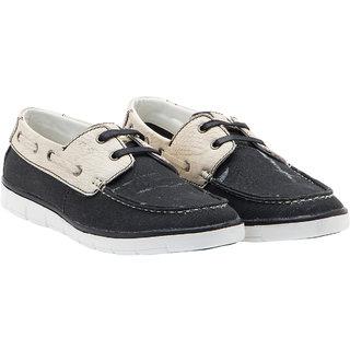 Randier MenS Black,Beige Boat Shoes Lace-Up Shoes (CFL010)