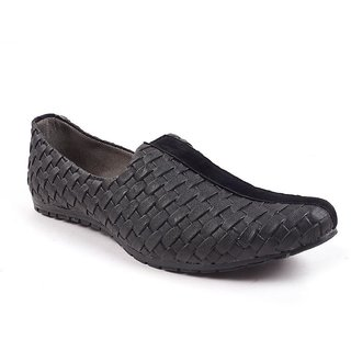 Monaz MenS Black Slip On Casuals Shoes (MZC-0092)
