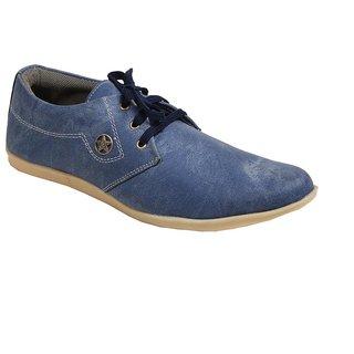 Monaz MenS Blue Lace-Up Casuals Shoes (MZC-0112)