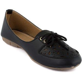 Addic Fashion Stylish Black Color Leather Moccasins For Women