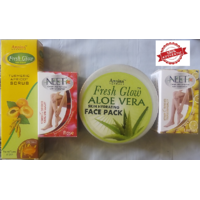 Advanced Face Pack Combo (Aloe Vera Face Pack 250 Gm + Apricot And Turmeric Scrub 50 Gm + 2 NEET Hair Removal Cream 80gm