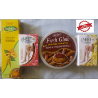 Advanced Face Pack Combo (Kesar Chandan Face Pack 250gm+Apricot And Turmeric Scrub 50gm+2 NEET Hair Removal Cream 80 Gm