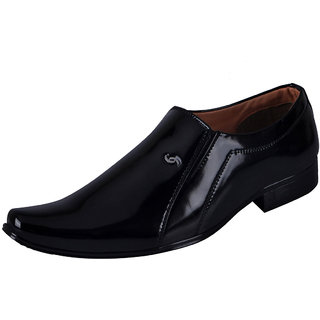 Fausto MenS Black Formal Slip On Shoes (FST 3218 BLACK)