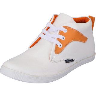 Fausto MenS White,Orange Sneakers Lace-Up Shoes (FST 1646 WHITE ORANGE)
