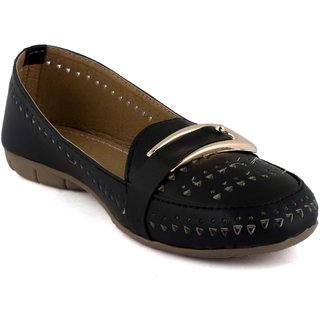 Addic Fashion Stylish Black Color Loafers With Buckle For Women