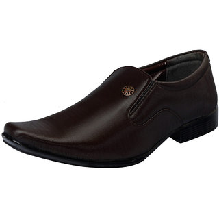 Fausto MenS Brown Formal Slip On Shoes (FST 1627 BROWN)