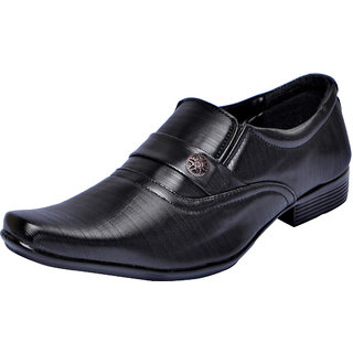 Fausto MenS Black Formal Slip On Shoes (FST 1628 BLACK)