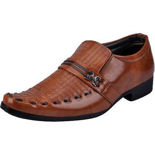 Fausto MenS Tan Formal Slip On Shoes (FST K6057 TAN)