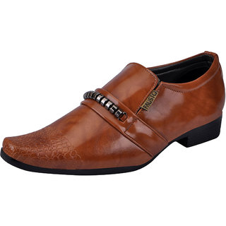 Fausto MenS Tan Formal Slip On Shoes (FST K6062 TAN)