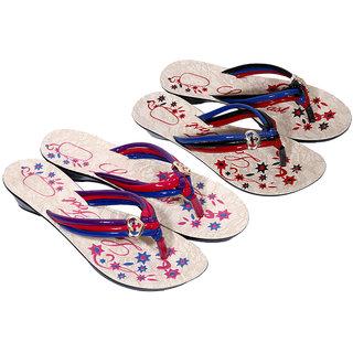 IndiWeaves Womens Multi  Multi Casual Slippers (Pack Of 2 Pair) (8700087005-IW)