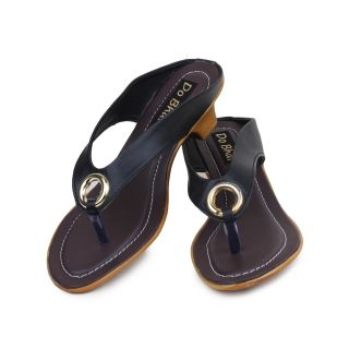 Do Bhai WomenS Black Wedge Heel Sandals (S-550-Black)