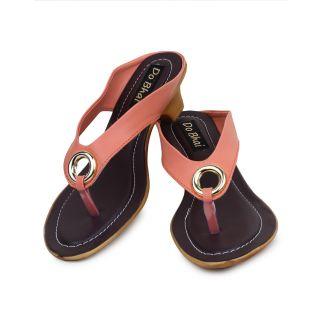 Do Bhai WomenS Cream Peach Heel Sandals (S-550-Peach)