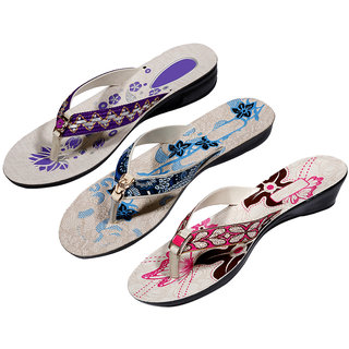 IndiWeaves Womens Purple  Blue  Pink Casual Slippers (Pack Of 3 Pair) (870091011-IW)