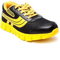 Juan David Mens Yellow Lace-up Running Shoes