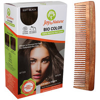 Joybynature Organic Hair Color - Soft Black 150gm (With Free Neem Wooden Comb)