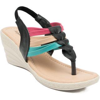 Adjoin Women Black Casual Velcro Wedge Sandals