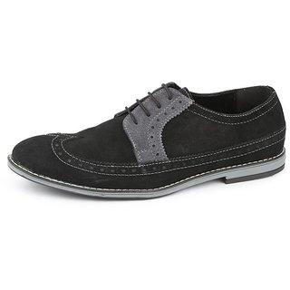American Swan MenS Black Suede Corporate Casual Shoes