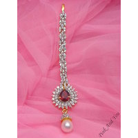 Stunning American Diamonds And Pearl Drop Maang Tika