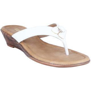 Legsway Womens White Wedge Heel Sandals