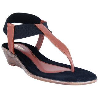 Legsway Womens Tan Wedge Heel Sandals
