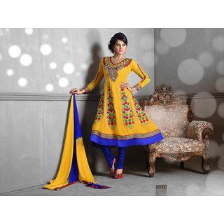 Riti Riwaz Yellow Georgette Designer Dress Including Matching Dupatta-1020