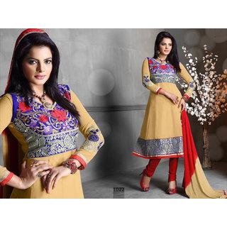 Riti Riwaz Beige Georgette Designer Dress Including Matching Dupatta-1022