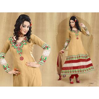 Riti Riwaz Beige Georgette  Designer Dress Including Matching Dupatta-1043