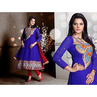 Riti Riwaz Blue Georgette Designer Dress Including Matching Dupatta-1021