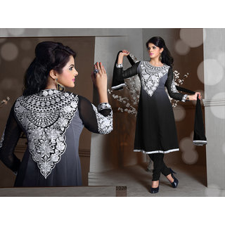 Riti Riwaz Black Georgette Designer Dress Including Matching Dupatta-1028