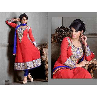 Riti Riwaz Peach Georgette Designer Dress Including Matching Dupatta-1030