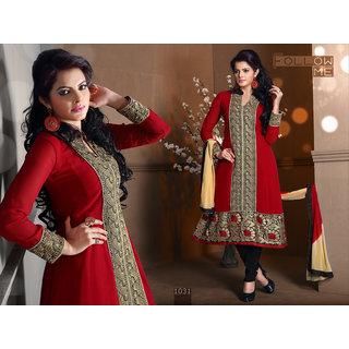 Riti Riwaz Red Georgette Designer Dress Including Matching Dupatta-1031