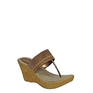 Liza Womens Brown Slip On  Wedge Heel Sandals