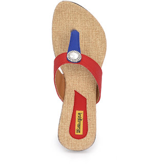 Indirang Blue And Red Women Flats
